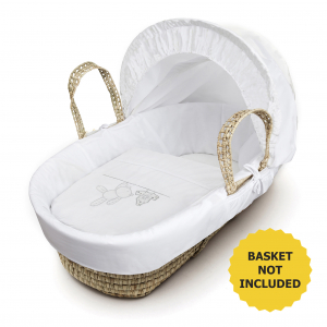 White Teddy Wash Day Moses Basket Bedding Set