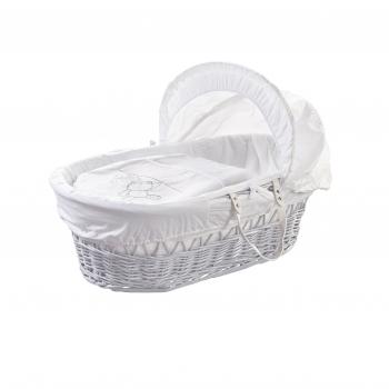 White Teddy Wash Day White Wicker Moses Basket