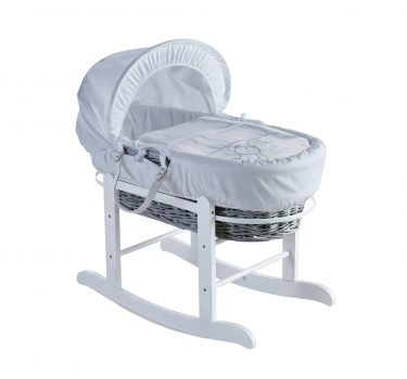 White Teddy Wash Day Grey Wicker Moses Basket with Rocking Stand Deluxe White