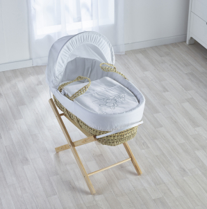White Teddy Wash Day Palm Moses Basket with Opal Folding Stand Natural