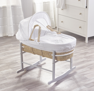 White Teddy Wash Day Palm Moses Basket with Chester Rocking Stand Grey