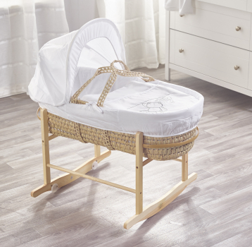 White Teddy Wash Day Palm Moses Basket with Chester Rocking Stand Natural