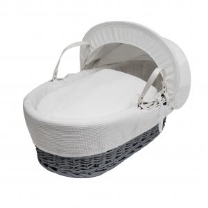 White Waffle Grey Wicker Moses Basket