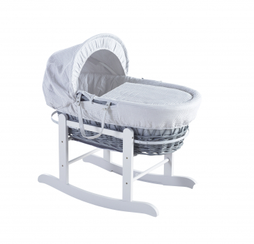 White Waffle Grey Wicker Moses Basket with Rocking Stand Deluxe White