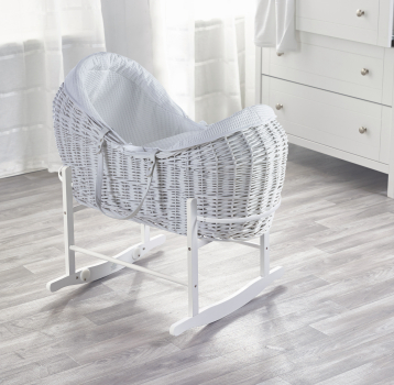White Waffle White Pod Moses Basket with Rocking Stand Deluxe White
