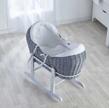 White Waffle Grey Wicker Pod Moses Basket with Deluxe Grey Rocking Stand
