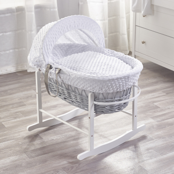 White Dimple Grey Wicker Moses Basket with White Rocking Stand