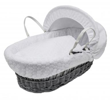 White Honeycomb Grey Wicker Moses Basket