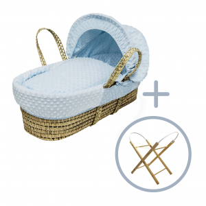 Blue Dimple Moses Basket with Folding Stand Natural