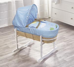 Blue Kite Palm Moses Basket with Chester Rocking Stand White
