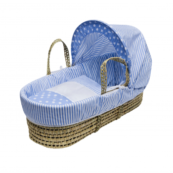 Blue Spots & Stripes Palm Moses Basket with Chester Rocking Stand Natural