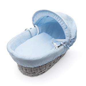 Blue Waffle Grey Wicker Moses Basket