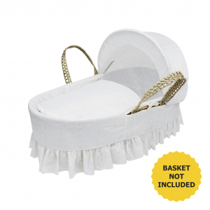 Broderie Anglaise White Moses Basket Bedding Set