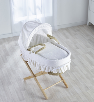 Broderie Anglaise White Moses Basket with Folding Stand Natural