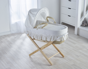 Broderie Anglaise Cream Moses Basket with Folding Stand Natural
