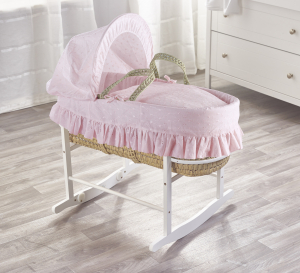 Broderie Anglaise Pink Palm Moses Basket with Chester Rocking Stand White