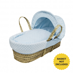 Blue Dimple Moses Basket Bedding Set