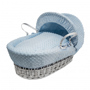 Blue Dimple White Wicker Moses Basket