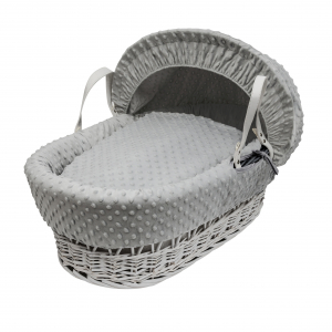 Grey Dimple White Wicker Moses Basket