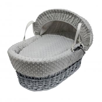 Grey Dimple Grey Wicker Moses Basket
