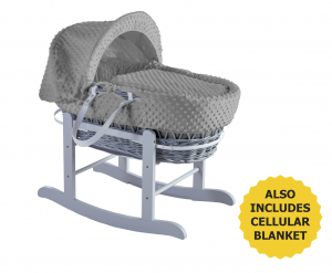 Dimple Grey, Grey Wicker, Little Gem rocking stand grey and Cellular Blanket Grey