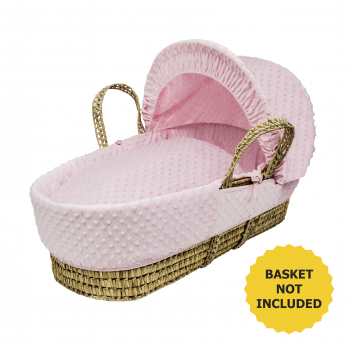 Pink Dimple Moses Basket Bedding Set