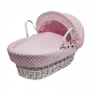 Pink Dimple White Wicker Moses Basket