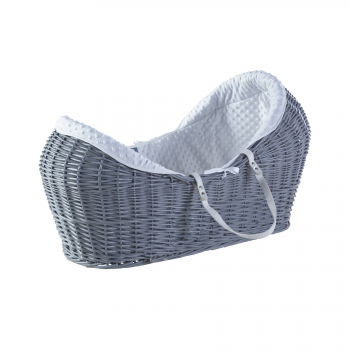 White Dimple Grey Wicker Pod Moses Basket