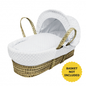 White Dimple Moses Basket Bedding Set