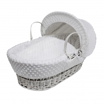 White Dimple White Wicker Moses Basket