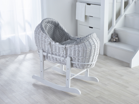 Grey Dimple White Pod Moses Basket with Rocking Stand Deluxe White