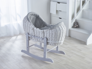 Grey Dimple White Pod Moses Basket with Rocking Stand Deluxe Grey