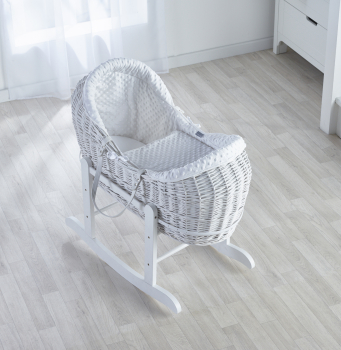 Grey Dimple White Wicker Pod Moses Basket with Deluxe Grey Rocking Stand