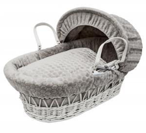 Grey Honeycomb White Wicker Moses Basket