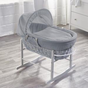 Grey Waffle Grey Wicker Moses Basket with Grey Rocking Stand
