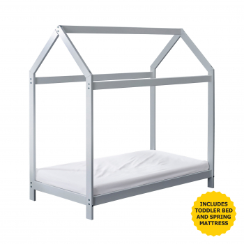 Harper Toddler House Bed Grey with Spring Mattress