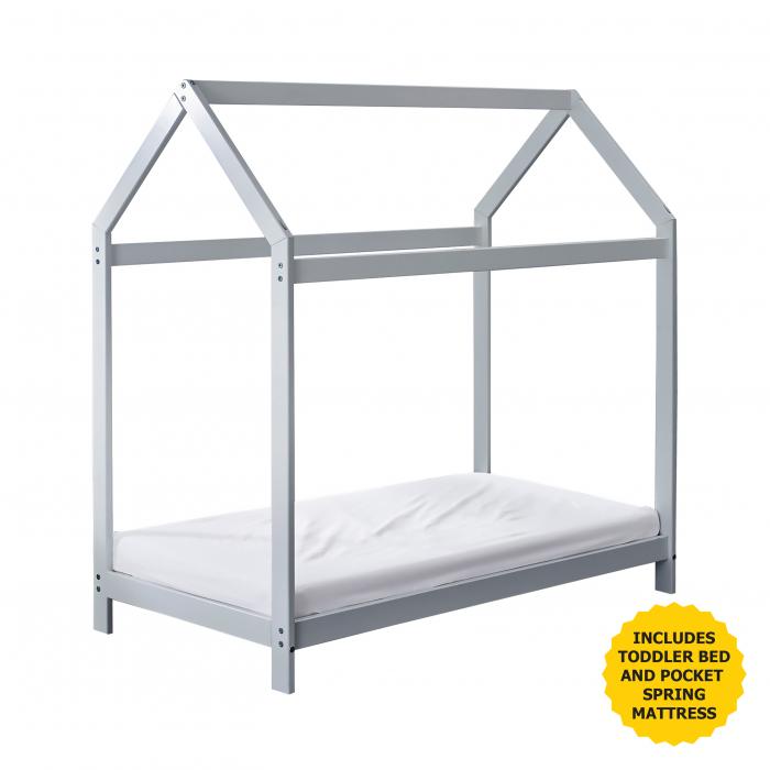 Harper Toddler House Bed Grey with Pocket Sprung Mattress