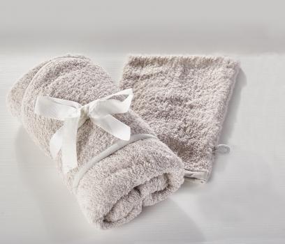 Hooded Towel and Wash Mitt Grey