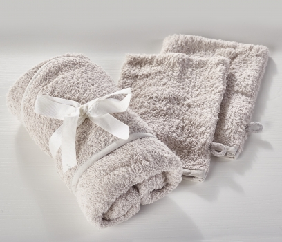 Hooded Towel and 2 Pack Wash Mitts Grey