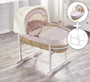 Pink Picnic in The Park Palm Moses Basket with Chester Rocking Stand White