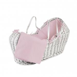 Pink Waffle White Pod Moses Basket