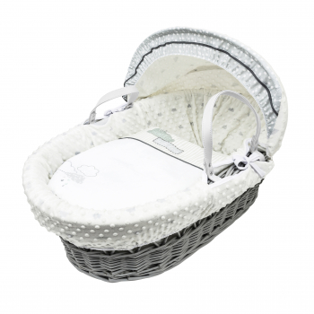 Showered with Love Grey Wicker Moses Basket