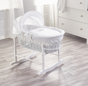 Sleepy Little Owl White Wicker Moses Basket with White Rocking Stand