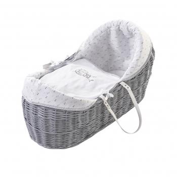 Sleepy Little Owl Grey Pod Moses Basket