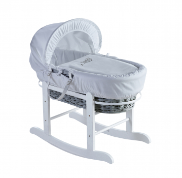 Sleepy Little Owl Grey Wicker Moses Basket with Rocking Stand Deluxe White