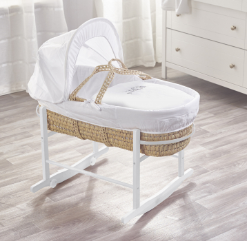 Sleepy Little Owl Palm Moses Basket with Chester Rocking Stand White