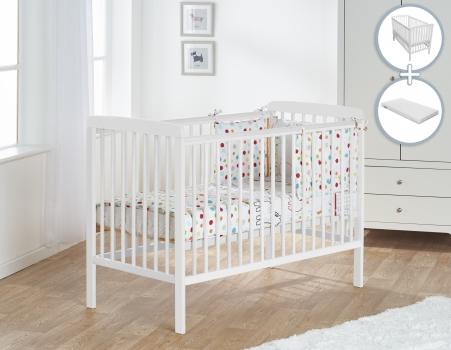 Sydney Cot White with Kinder Flow Mattress