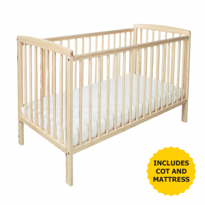 Sydney Cot Natural with Kinder Flow Mattress