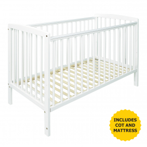 Sydney Cot White with Kinder Flow Mattress