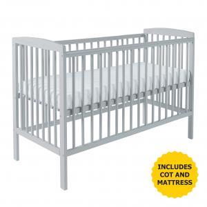 Sydney Cot Grey with Kinder Flow Mattress